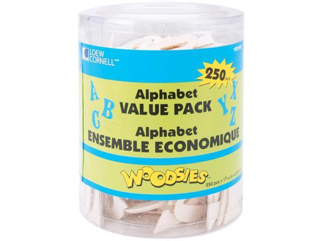 Woodsies Alphabet 250/Pkg-Natural 1.5625