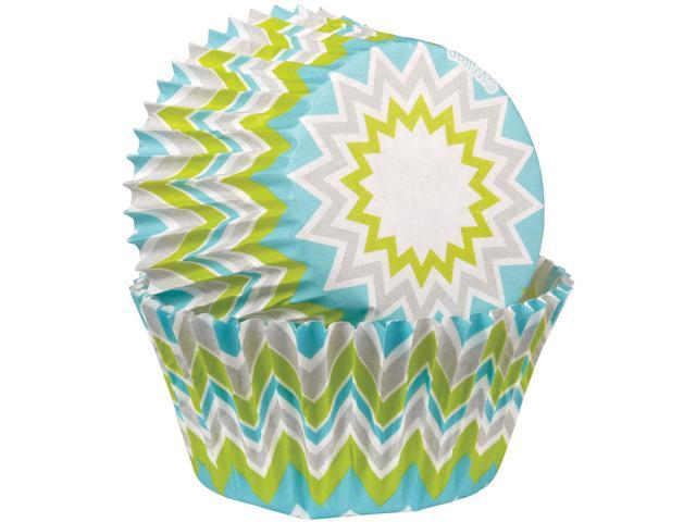 Baking Cups-Lime Chevron 75/Pkg-Standard