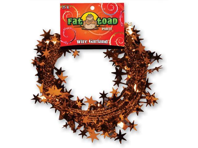 Fat Toad Wire Garland 25'-Orange Stars
