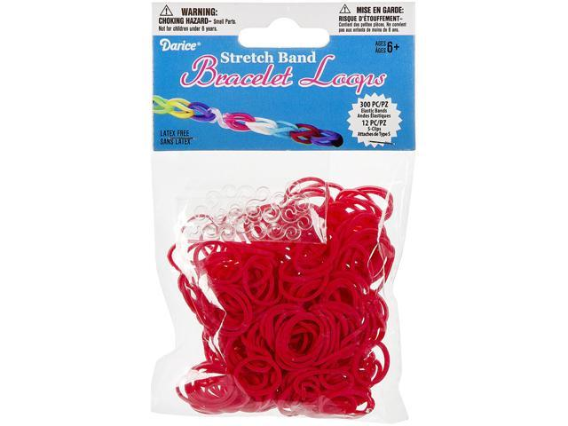 Mini Rubber Bands 300/Pkg W/12 Clips-Red