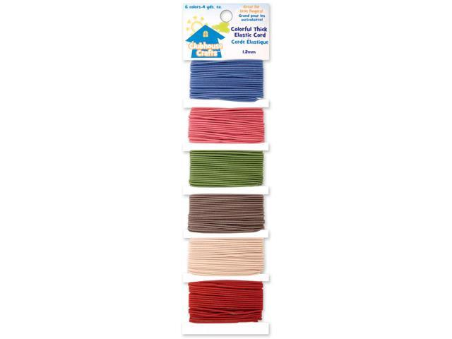 Clubhouse Crafts Elastic Cord-Colorful Thick - 4yd Each Of 6 Colors