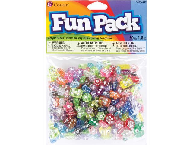 Fun Pack Acrylic Shaped Beads 1.8oz-Assorted W/Rhinestones