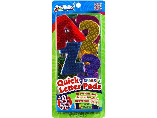 Quick Letter/Number Pads Repositionable With Glue Stick-Holographic Sparkle, 217 Pieces