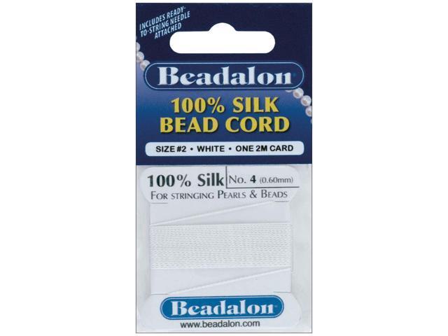 Silk Bead Cord .6mmX6.5'-White