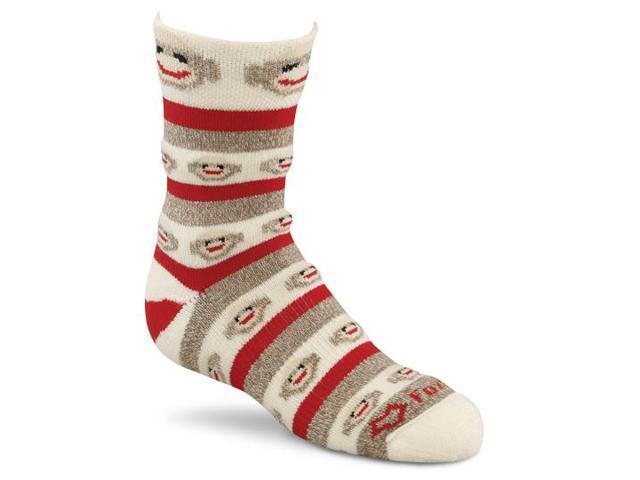 Red Heel Crew Monkey Stripe Socks 1pr/Pkg-Size Medium Brown