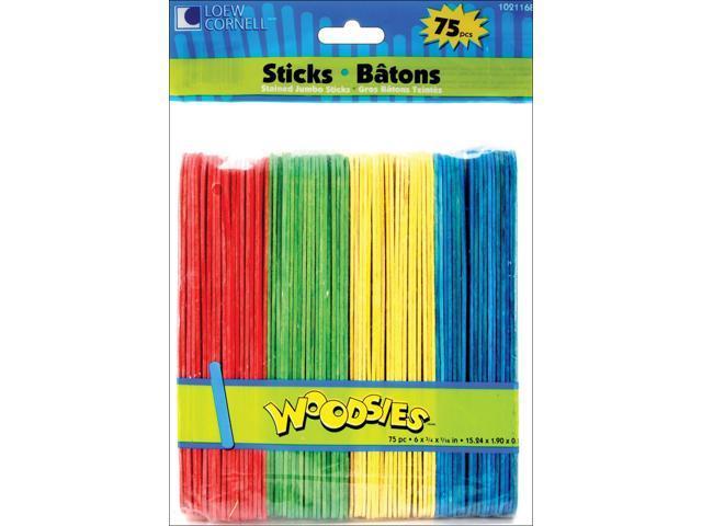 Woodsies Jumbo Craft Sticks-Colored 6