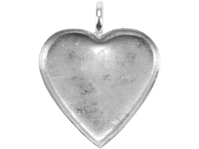 Base Elements Heart Pendant 22mmX20mm 1/Pkg-Silver Overlay