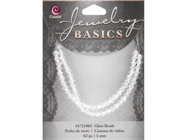 Jewelry Basics Glass Beads 4mm 62/Pkg-Crystal Bicone