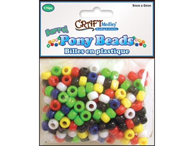 Barrel Pony Beads 6mmX9mm 175/Pkg-Opaque Multicolor