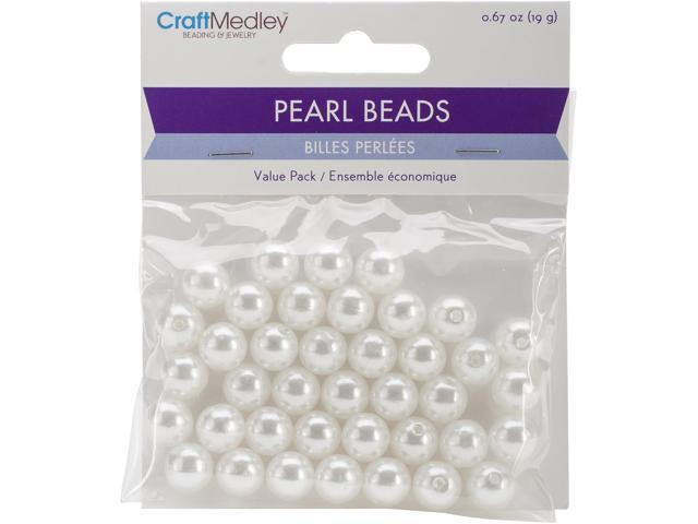 Pearl Beads Value Pack -10Mm White 40/Pkg