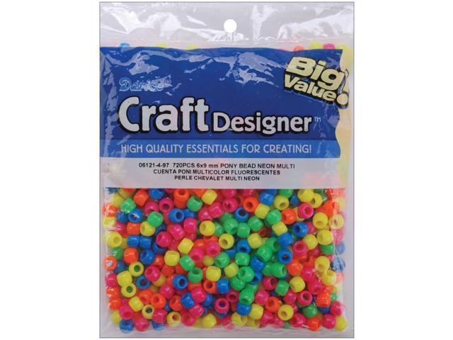 Pony Beads 6mmX9mm 720/Pkg-Opaque Neon Multicolor