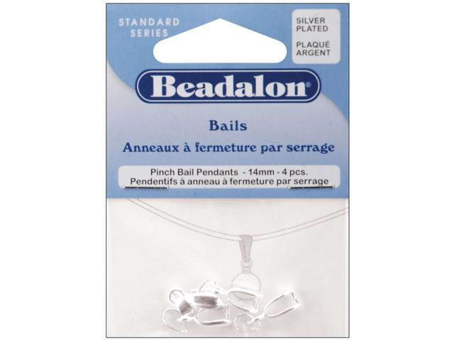 Pendant Pinch Bails 14mm 4/Pkg-Silver-Plated