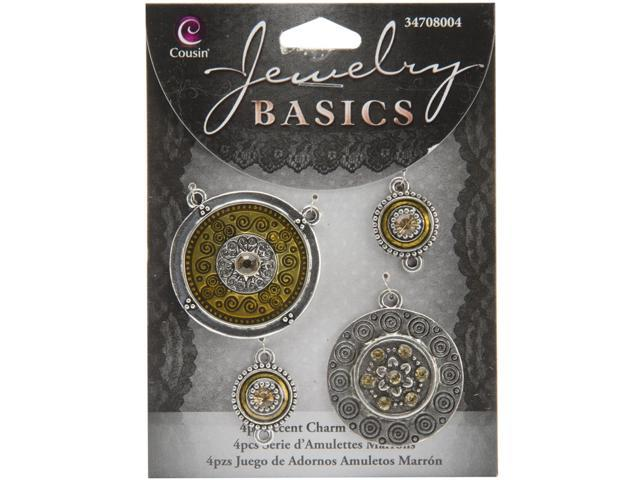 Jewelry Basics Metal Connectors-Brown & Silver Charms 4/Pkg