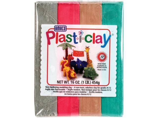 Plast-i-Clay 1lb-Red, Gray, Green & Brown