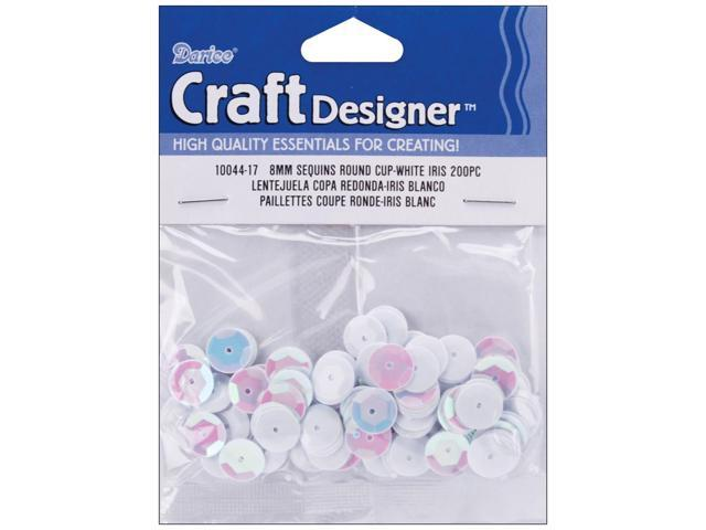 Cupped Sequins 8mm 200/Pkg-White Iridescent