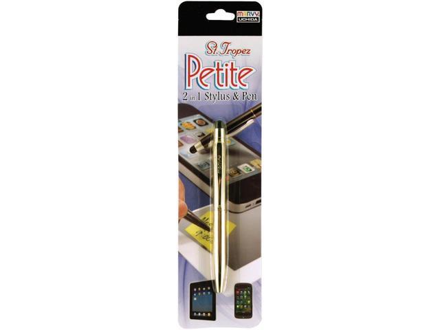 St. Tropez Petite 2-In-1 Stylus & Pen W/Black Ink Carded-Gold Barrel