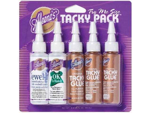 Aleene's Try Me Size Tacky Pack .66oz 5/Pkg-Jewel-It, Ok To Wash-It & 3 Original