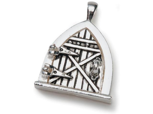 Fairy Door Metal Charm 1/Pkg-Antique Silver