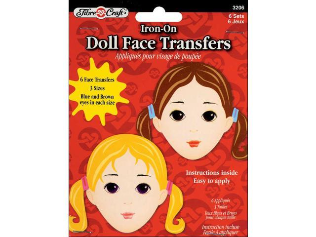 Iron-On Doll Face Transfers 6/Pkg-