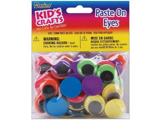 Paste-On Wiggle Eyes 20mm 50/Pkg-Black On Neon