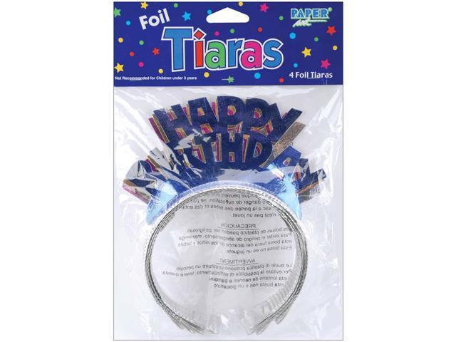 Foil Tiaras 4/Pkg-Happy Birthday Assorted Colors