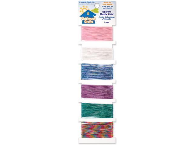 Clubhouse Crafts Elastic Cord-Sparkle - 4yd Each Of 6 Colors