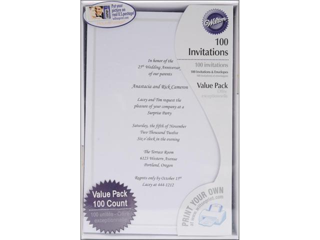 Invitation Kit Makes 100-White Single Border