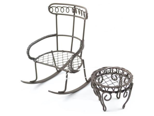 Mini Iron Garden Rocking Chair & Table Set 2/Pkg-Rustic