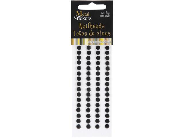 Metal Stickers Nailheads 5mm Round 64/Pkg-Black