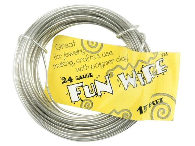 Plastic Coated Fun Wire 24 Gauge 15'-Icy Silver