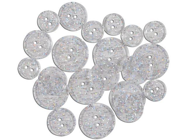 Favorite Findings Glitter Buttons-Clear Transparent 20/Pkg
