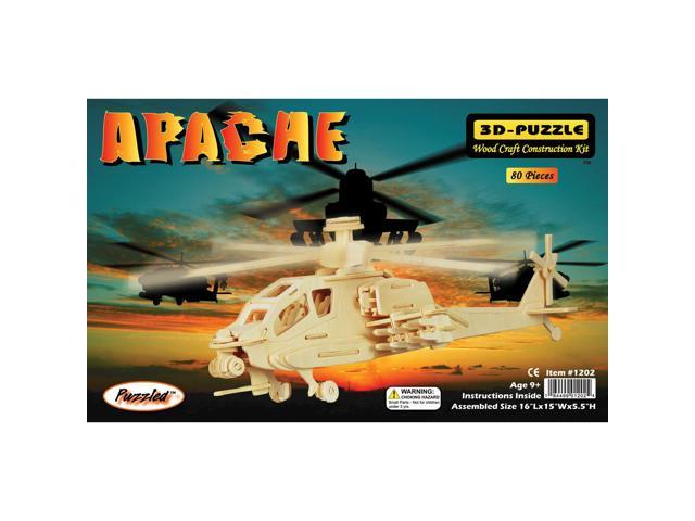 Puzzled 1202 Apache 3D Natural Wood Puzzle - 80 Pieces