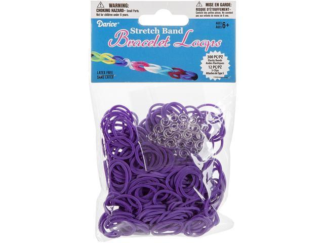 Mini Rubber Bands 300/Pkg W/12 Clips-Purple