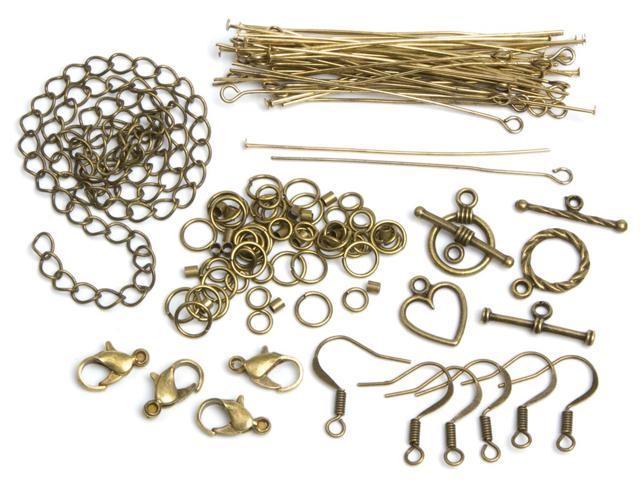 Jewelry Basics Metal Findings 145/Pkg-Antique Gold Starter Pack