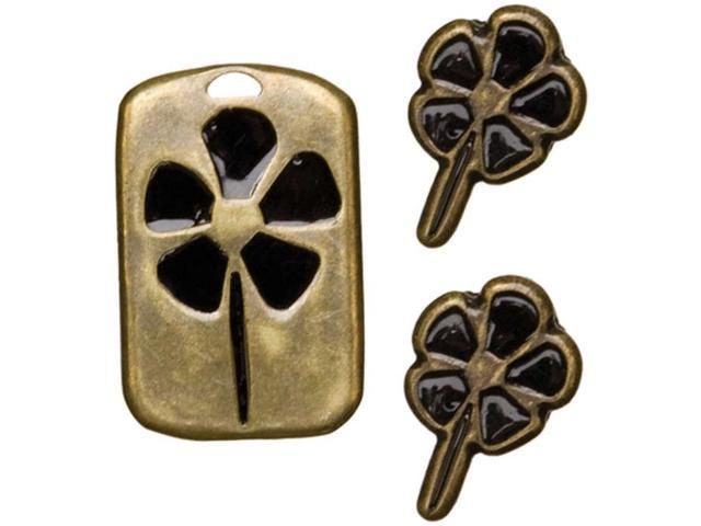 Existence Metal Accents 3/Pkg-Rectangular Flower/Antique Gold