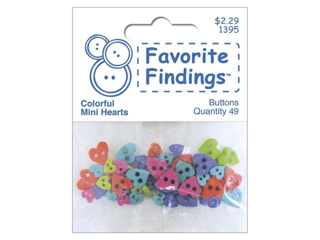 Favorite Findings Mini Shaped Buttons 49/Pkg-Colorful Hearts