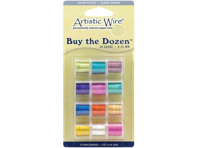 Artistic Wire Buy-The-Dozen Silver-Plated 3yd 12/Pkg-28 Gauge