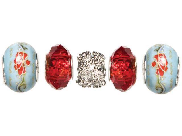 Trinkettes Glass & Metal Beads 5/Pkg-Red Crystal