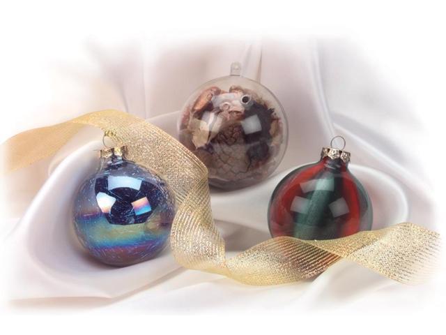 Heavy Glass Ornament Balls w/Gold Filigree 70mm 6/Pkg-Clear
