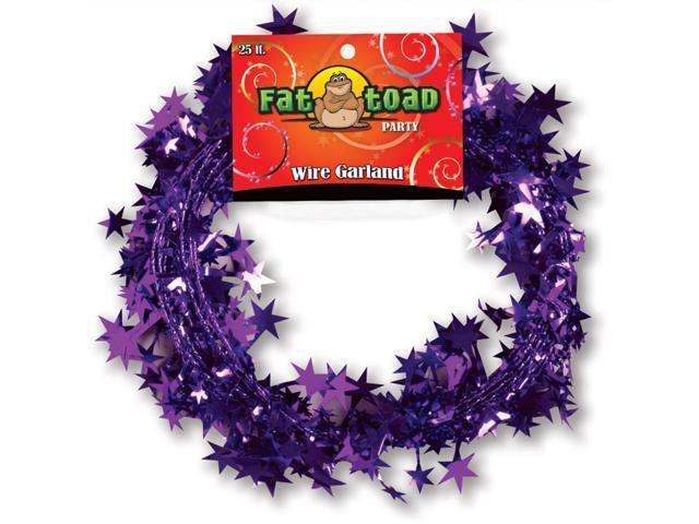 Fat Toad Wire Garland 25'-Purple Stars