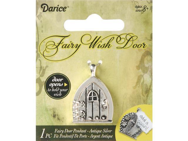 Fairy Door Metal Charm 1/Pkg-Antique Silver W/Window