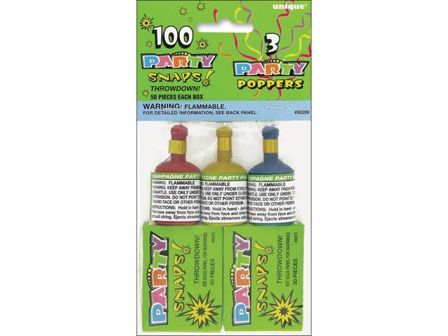 Party Favors-Snaps (100 Count) & Poppers (3 Count)