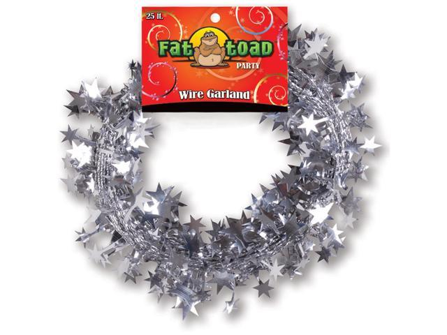 Fat Toad Wire Garland 25'-Silver Stars