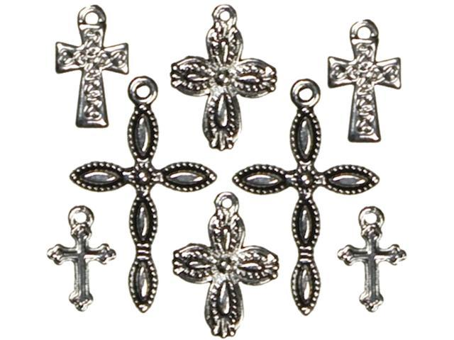Jewelry Basics Metal Charms-Silver & Black Crosses 8/Pkg