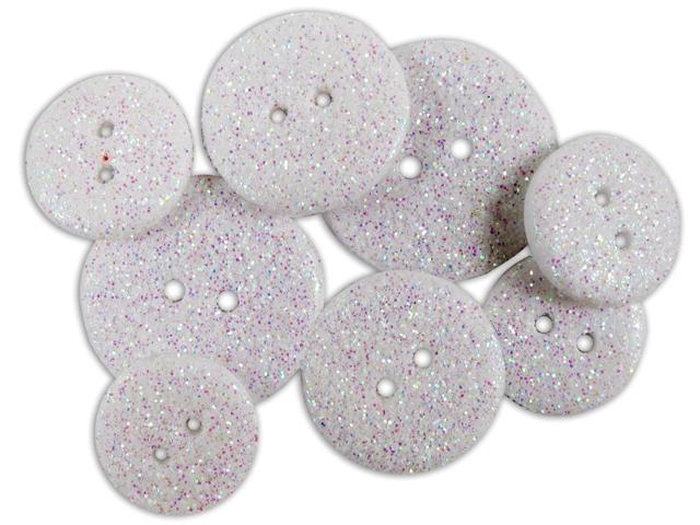 Favorite Findings Glitter Buttons-Frost Opaque 7/Pkg