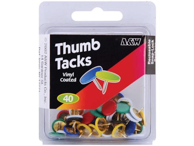 Thumb Tacks-Vinyl Coated-Assorted Colors 40/Pkg
