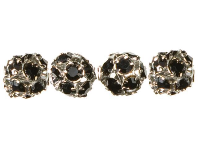 Jewelry Basics Metal Beads 8mm 4/Pkg-Silver & Black Rondelle