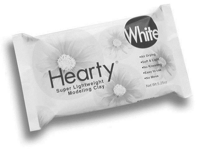 Hearty Super Lightweight Air Dry Clay 5.25 Ounces-White