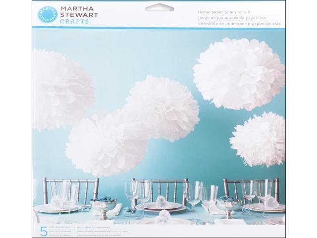 Doily Lace Tissue Paper Pom-Pom Kit Makes 5-White