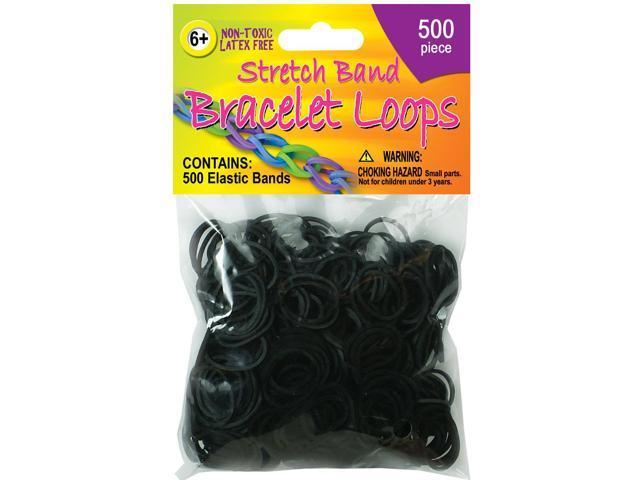 Stretch Band Bracelet Loops 500/Pkg-Black